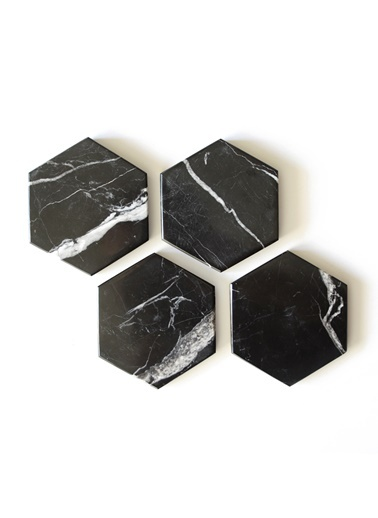 4'lü Altıgen Bardak Altlığı-Marble&Etc.